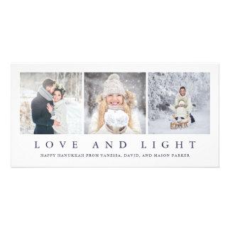 Love and Light   Modern Hanukkah Three Photos Card