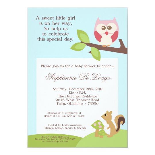 Love and Nature Girl Woodla Baby Shower Invitation