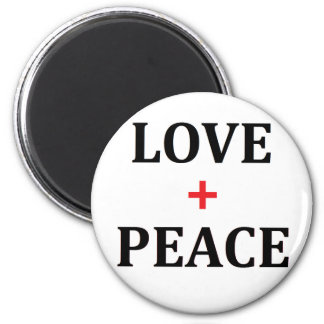 Love and Peace 2 Inch Round Magnet