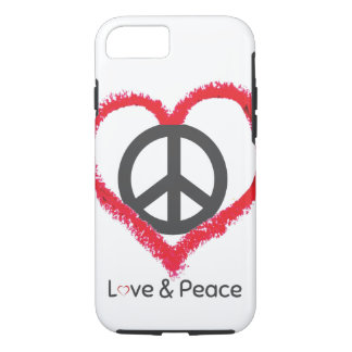 Love and Peace Apple iPhone 7, Tough Phone Case