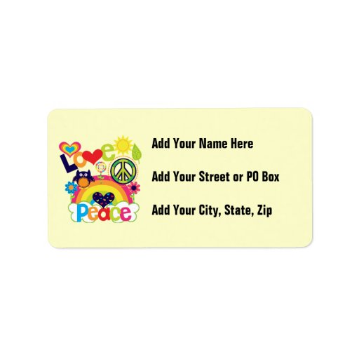 Love and Peace Baby Custom Address Labels
