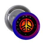 Love and Peace Club Button Blue Black Button