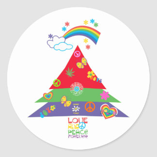 Love and Peace Forever Christmas Classic Round Sticker