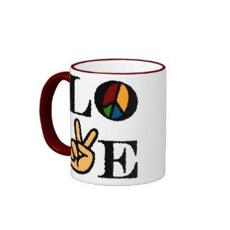 LOVE AND PEACE RINGER COFFEE MUG