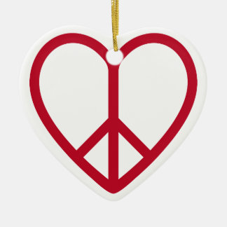Love and peace, red heart with peace sign ceramic ornament