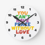 Love and Peace Round Wall Clock