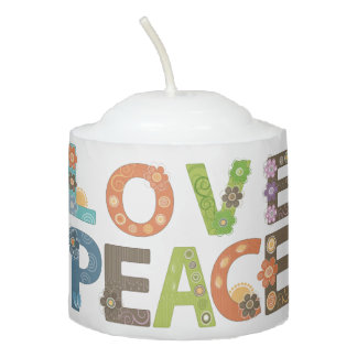 Love and Peace Whimsical Floral Modern Pattern Votive Candle