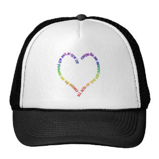 love and pleasure- rainbow heart trucker hat