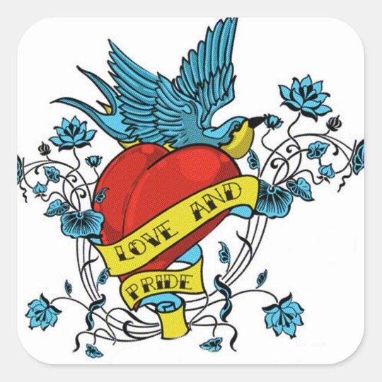 Love and Pride Tattoo Square Sticker