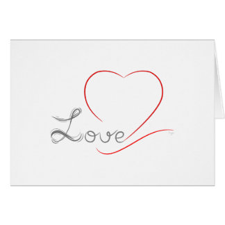 LOVE and red Heart Greeting Card