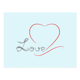 LOVE and red Heart Postcard