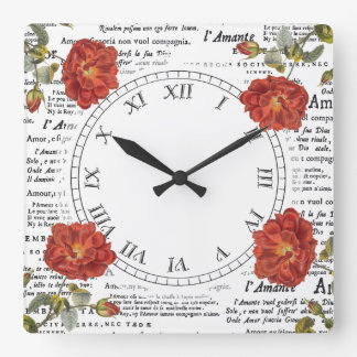 Love and Red Roses Antique Texts Square Wall Clock
