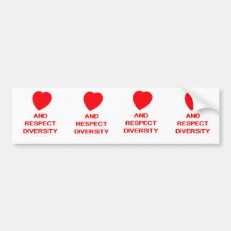 LOVE AND RESPECT DIVERSITY Bumper Sticker