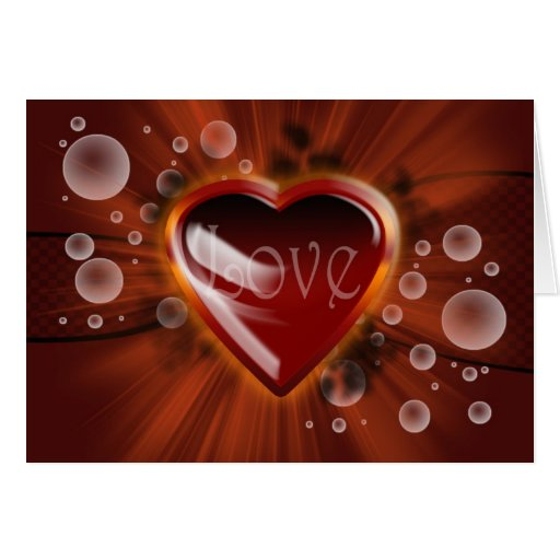 Love and romance, vector heart with bubbles linear cards