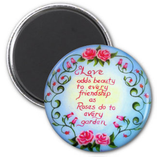 Love and Roses 2 Inch Round Magnet