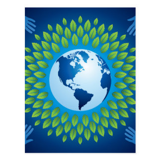 Love and save mother earth, green healthy earth postcard