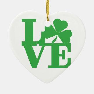LOVE and Shamrocks Ceramic Ornament
