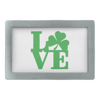 LOVE and Shamrocks Rectangular Belt Buckle
