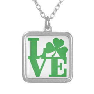 LOVE and Shamrocks Silver Plated Necklace