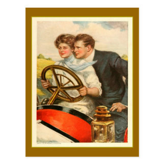 'Love and Six Cylinders' Vintage Advertisement Postcard