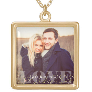 Love and Sparkles Photo Gold Plated Necklace