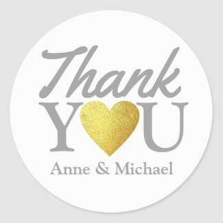 love and thank you wedding favor classic round sticker
