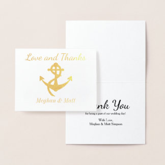 Love and Thanks Anchor Foil Card Wedding Thank You