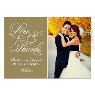 Love and Thanks | Antique Gold Wedding Thank You Card