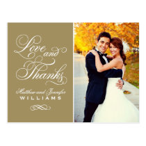 Love and Thanks   Antique Gold Wedding Thank You Postcard