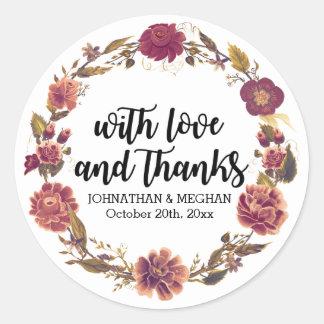 Love and Thanks Autumn Wreath Wedding Favor Classic Round Sticker