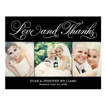Plush_Paper Love and Thanks | Black Wedding Thank You Postcard