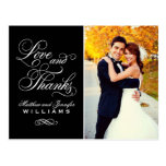 Love and Thanks | Black Wedding Thank You Postcard<br><div class='desc'>Simply elegant wedding thank you post card template features &quot;Love and Thanks&quot; in a beautiful script font with custom monogram and a portrait photo of the bride and groom on the front side, and smaller square photo with custom text that can be personalized on the back side. Classic black and...</div>