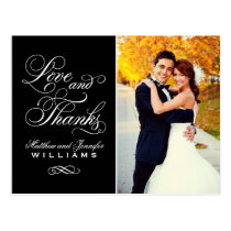 Love and Thanks | Black Wedding Thank You Postcards