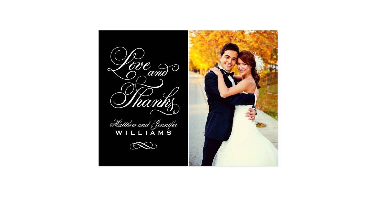Love And Thanks Black Wedding Thank You Postcard