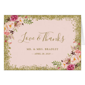 Love and Thanks Blush Pink Gold Glitter Floral
