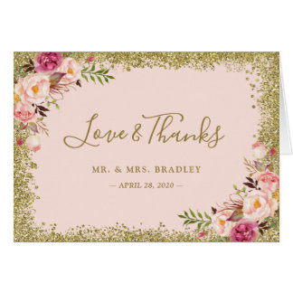 Love and Thanks Blush Pink Gold Glitter Floral Card