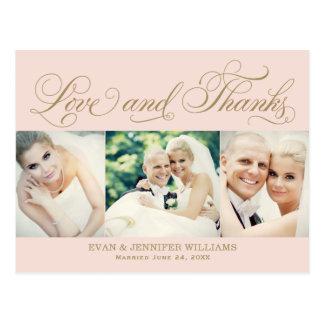 Love and Thanks | Blush Wedding Thank You Postcard