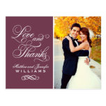 Love and Thanks | Burgundy Wedding Thank You Postcards