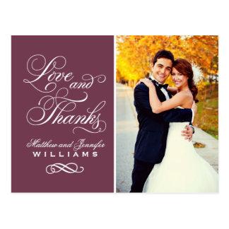 Love and Thanks | Burgundy Wedding Thank You Postcard