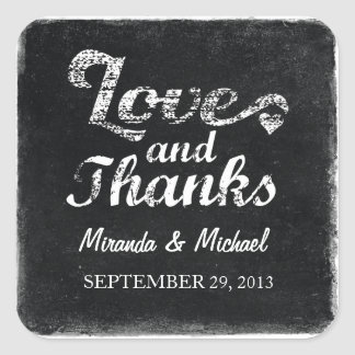 LOVE AND THANKS Chalkboard FAVOR LABELS STICKERS
