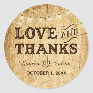 Love and Thanks country wedding favor sticker