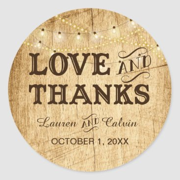 langdesignshop Love and Thanks country wedding favor sticker