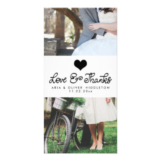 Love And Thanks Cute Heart Typography Wedding Card