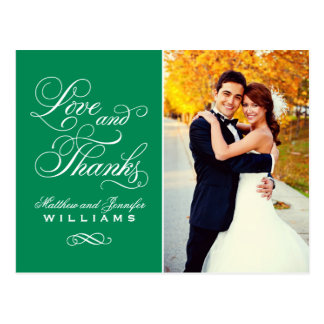 Love and Thanks | Emerald Green Wedding Thank You Postcard