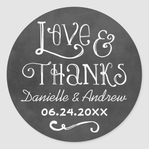 Love and Thanks Favor Sticker Chalkboard Charm