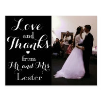 Love and Thanks from Mr. and Mrs. Wedding Postcard