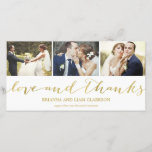 """Love and Thanks Gold Script    Wedding Thank You<br><div class=""""desc"""">This simple and chic 3-photo wedding thank you photo card features a collage with whimsical script lettering that highlights your favorite wedding photos. Please note that this is not actually metallic gold foil and will be printed flat.</div>"""