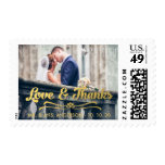 LOVE AND THANKS GOLD THANK YOU POSTAGE STAMPS