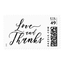 Love and Thanks Hand Lettered Font over Your Color Postage