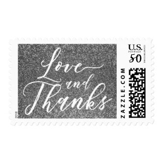 Love and Thanks Hand Lettered Font, Silver Glitter Postage